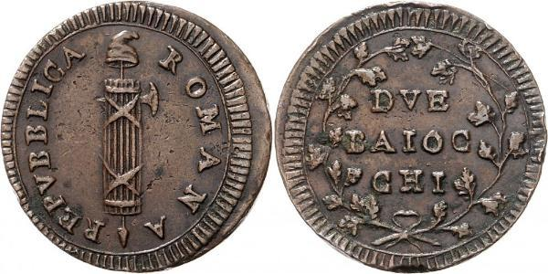 2 Baiocco Papal States (752-1870) Copper