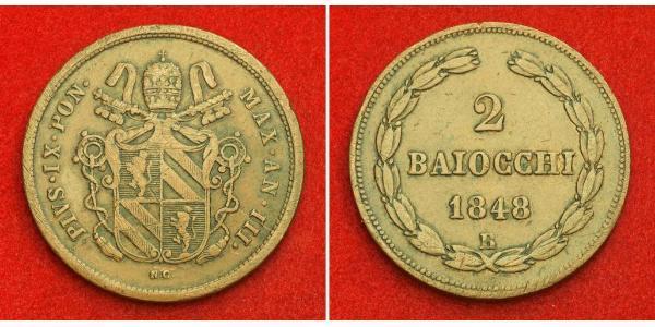 2 Baiocco Papal States (752-1870) Copper Pope Pius IX (1792- 1878)