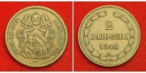 2 Baiocco États pontificaux (752-1870) Cuivre Pie IX (1792- 1878)