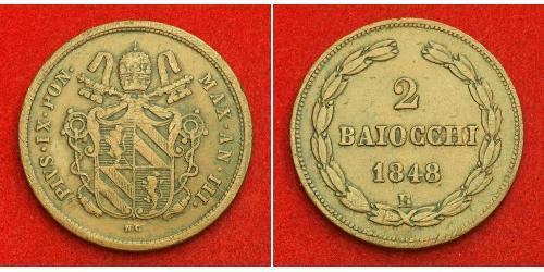 2 Baiocco Kirchenstaat (752-1870) Kupfer Pius IX (1792- 1878)