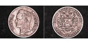 2 Bolivar Venezuela Silver Simon Bolivar (1783 - 1830)