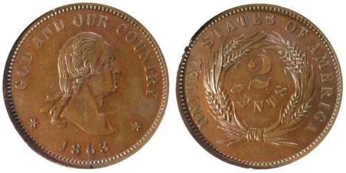 2 Cent Vereinigten Staaten von Amerika (1776 - ) Kupfer