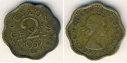 2 Cent Sri Lanka Latón Isabel II (1926-)