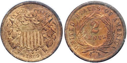 2 Cent Estados Unidos de América (1776 - ) Tin/Cobre/Zinc