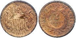 2 Cent USA (1776 - ) Tin/Copper/Zinc