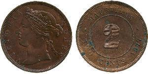 2 Cent Mauricio  Victoria (1819 - 1901)