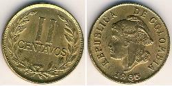2 Centavo Colombia (1886 - ) Ottone