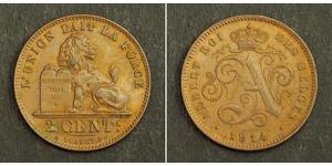 2 Centime Bélgica Cobre Alberto I de Bélgica (1875 - 1934)