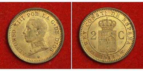 2 Centimo Kingdom of Spain (1874 - 1931) Copper Alfonso XIII of Spain (1886 - 1941)