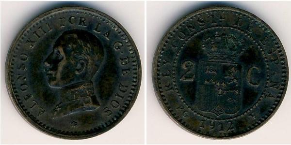 2 Centimo Kingdom of Spain (1874 - 1931) Rame Alfonso XIII of Spain (1886 - 1941)