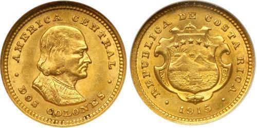 2 Colon Costa Rica Gold Christoph Kolumbus (1451 - 1506)