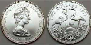 2 Dólar Bahamas Plata Isabel II (1926-)