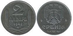 2 Dinar Serbien Zink