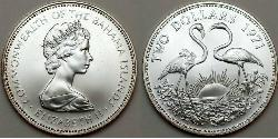 2 Dollar Bahamas Silber Elizabeth II (1926-)