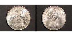 2 Dollar Bahamas Silver Elizabeth II (1926-)