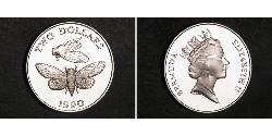 2 Dollar Bermuda Silver Elizabeth II (1926-)