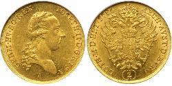 2 Ducat Habsburg Empire (1526-1804) Gold Joseph II, Holy Roman Emperor  (1741 - 1790)