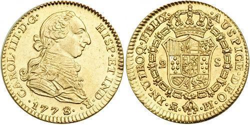 2 Escudo 秘鲁 金 卡洛斯三世 (西班牙) (1716 -1788)