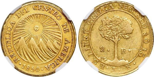 2 Escudo Costa Rica / Federal Republic of Central America (1823 - 1838) Gold