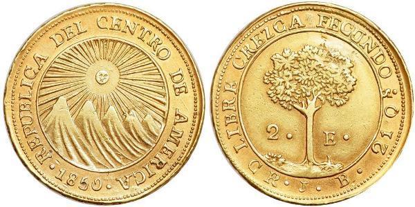 2 Escudo Costa Rica / Zentralamerikanische Konföderation (1823 - 1838) Gold
