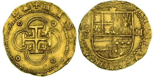2 Escudo Habsburg Spain (1506 - 1700) Gold Philip II of Spain (1527-1598)