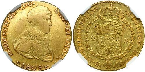 2 Escudo Kingdom of Spain (1808 - 1813) Gold Ferdinand VII of Spain (1784-1833)