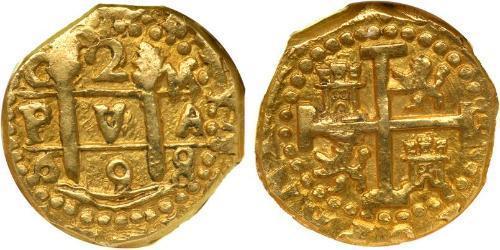2 Escudo Peru Gold Karl II. von Spanien (1661-1700)