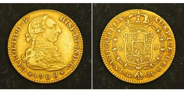 2 Escudo Peru Gold Charles III of Spain (1716 -1788)