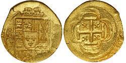 2 Escudo Spanish Mexico  / Kingdom of New Spain (1519 - 1821) Gold Philip V of Spain(1683-1746)