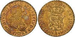 2 Escudo Spanish Mexico  / Kingdom of New Spain (1519 - 1821) Gold Ferdinand VI of Spain (1713-1759)