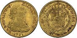 2 Escudo Spanish Mexico  / Kingdom of New Spain (1519 - 1821) Gold Charles III of Spain (1716 -1788)