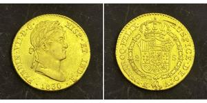 2 Escudo Spanish Mexico  / Kingdom of New Spain (1519 - 1821) Gold Ferdinand VII of Spain (1784-1833)