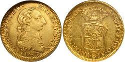 2 Escudo Viceroyalty of New Granada (1717 - 1819) Gold Charles III of Spain (1716 -1788)