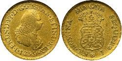 2 Escudo Viceroyalty of New Granada (1717 - 1819) Gold Ferdinand VI of Spain (1713-1759)
