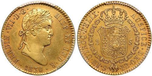 2 Escudo Vizekönigreich Neuspanien (1519 - 1821) Gold Ferdinand VII. von Spanien (1784-1833)