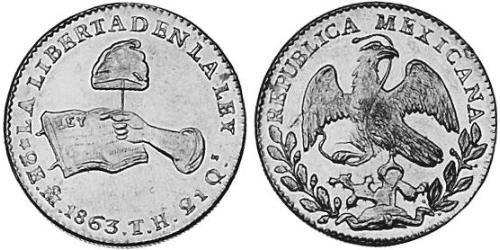 2 Escudo Second Federal Republic of Mexico (1846 - 1863) Or