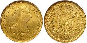 2 Escudo Spanien Or Charles IV d