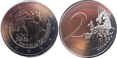 2 Euro Republic of Austria (1955 - ) Copper/Nickel