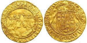 2 Excelente Spanien Or Ferdinand II of Aragon / Isabella I of Castile (1451-1504)