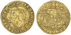 2 Excelente Spagna Oro Ferdinand II of Aragon / Isabella I of Castile (1451-1504)