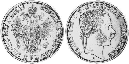 2 Florin Autriche-Hongrie (1867-1918) Argent Franz Joseph I (1830 - 1916)
