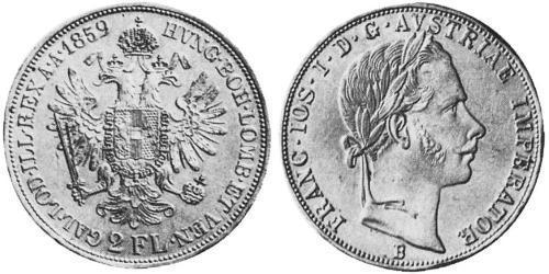 2 Florin Imperio austríaco (1804-1867) Plata