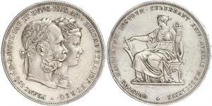 2 Florin / 2 Gulden 匈牙利王国 / 奧地利帝國 (1804 - 1867) 銀 弗朗茨·约瑟夫一世 (1830 - 1916)
