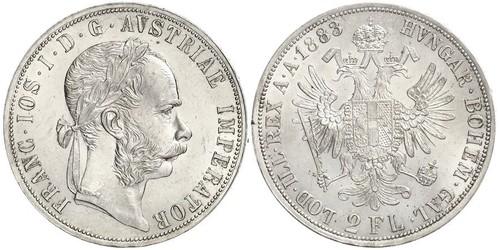 2 Florin / 2 Gulden Österreich-Ungarn (1867-1918) Silber Franz Joseph I (1830 - 1916)
