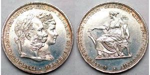 2 Florin / 2 Gulden Kaisertum Österreich (1804-1867) / Königreich Ungarn (1000-1918) Silber Franz Joseph I (1830 - 1916)