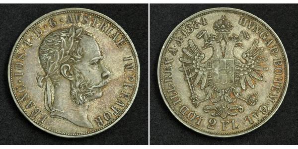 2 Florin / 2 Gulden Austria-Hungary (1867-1918) Silver Franz Joseph I (1830 - 1916)
