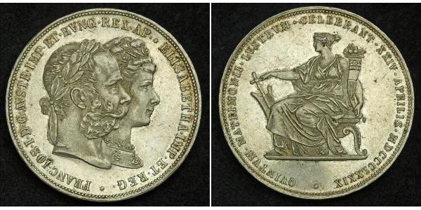 2 Florin / 2 Gulden Kingdom of Hungary (1000-1918) / Austrian Empire (1804-1867) Silver Franz Joseph I (1830 - 1916)