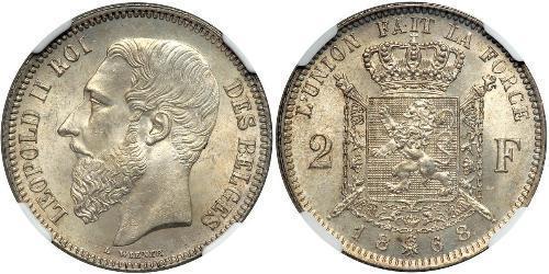 2 Franc 比利时 銀 利奥波德二世 (比利时)