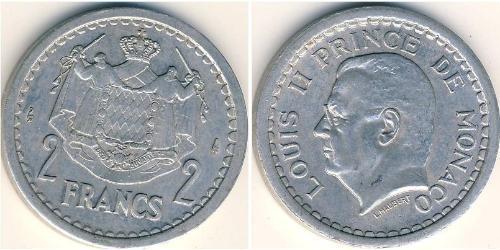 2 Franc Mónaco Aluminio Luis II de Mónaco (1870-1949)