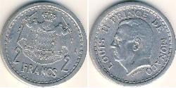 2 Franc Monaco Aluminium Louis II Prince of Monaco (1870-1949)